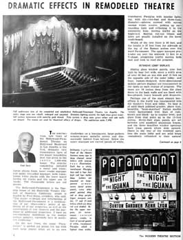 3-page feature on the theatre's 1964 renovation from the 18th January 1965 edition of <i>BoxOffice</i> magazine (2.5MB PDF)