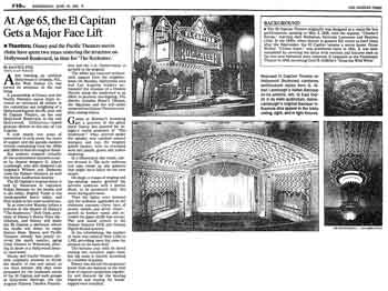 Press coverage in the <i>Los Angeles Times</i> of the theatre's restoration ahead of its reopening night on 19th June 1991 (400KB PDF)