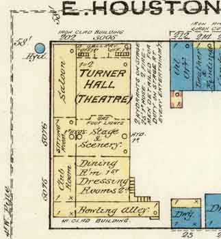 Sanborn Fire Insurance Map (July 1885) showing the theatre as <i>Turner Hall</i>, oriented 90° clockwise to the theatre's current position with entry from East Houston St – courtesy Library of Congress (JPG)