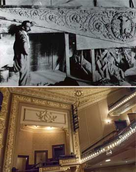 1914 photo of Hannibal Pianta beside one of the large plaster pieces for the Empire Theatre; and below, the piece in place above the house right boxes (JPG)