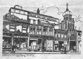 Illustration of the theatre's exterior (note the separate Pit entrance, to the left of the main entrance) as printed on the front cover of a theatre programme dated 8th May 1911 (JPG)