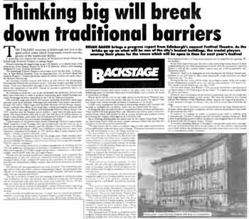 Report on development of the theatre as featured in the 2nd September 1993 edition of <i>The Stage</i> (830KB PDF)