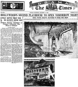 Preview of the theatre's opening, planned for 18th October 1926, as printed in the 17th October 1926 edition of the <i>Los Angeles Times</i> (800KB PDF)