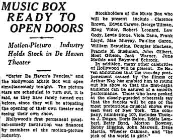 Report on the imminent opening of the theatre, following a two-day delay due to illness, as featured in the 20th October 1926 edition of the <i>Los Angeles Times</i> (560KB PDF)