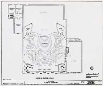 Ford's New Theatre (1968) reconstructed Dress Circle level; courtesy University of Georgia and scanned online by the Internet Archive (JPG)