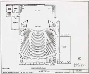 Ford's New Theatre (1968) reconstructed Orchestra level; courtesy University of Georgia and scanned online by the Internet Archive (JPG)
