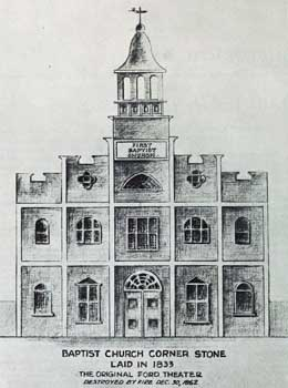 The First Baptist Church of Washington (1833), adapted for theatrical use by John T. Ford; courtesy University of Georgia and scanned online by the Internet Archive (JPG)