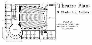 Plan of the Fox Bakersfield, as featured in the 28th December 1929 edition of <i>Motion Picture News</i>, courtesy Media History Digital Library (JPG)