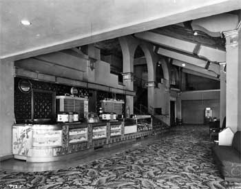 The lobby in 1945 with new Concession stand, from the Security Pacific National Bank Collection held by the Los Angeles Public Library (JPG)