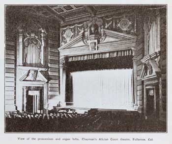 """View of the proscenium and organ lofts"", a photo which appeared in the 31 October 1925 issue of ""Motion Picture News"", held by the Museum of Modern Art Library (New York) and scanned/published online by the Internet Archive (JPG)"