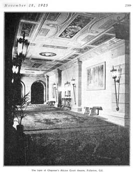 """The foyer of Chapman's Alician Court theatre"", a photo which appeared in the 28 November 1925 issue of ""Motion Picture News"", held by the Museum of Modern Art Library (New York) and scanned/published online by the Internet Archive (JPG)"