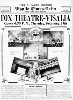 Full-page feature promoting the grand opening of the theatre in the 25 February 1930 edition of the <i>Visalia Times-Delta</i> (1.1MB PDF)