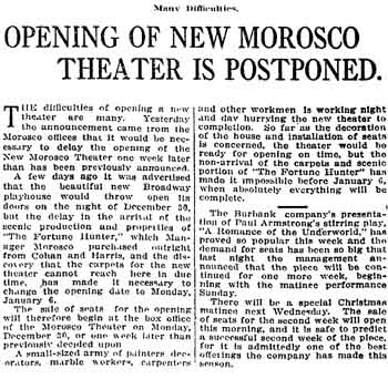 Notice of the postponement of the theatre's opening as published in the 20th December 1912 edition of the <i>Los Angeles Times</i> (520KB PDF)