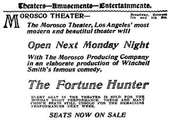 Theatre opening advertisement from the 31st December 1912 edition of the <i>Los Angeles Times</i> (250KB PDF)