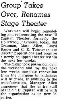 Progress update on renovation works at the theatre, purchased by Charles E. Toberman roughly three months prior, as printed in the 4th May 1942 edition of the <i>Los Angeles Times</i> (215KB PDF)