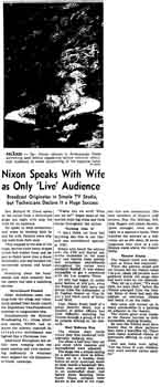 "Coverage of Nixon's ""Checkers"" speech as printed in the 4th September 1952 edition of the <i>Los Angeles Times</i> (1.7MB PDF)"