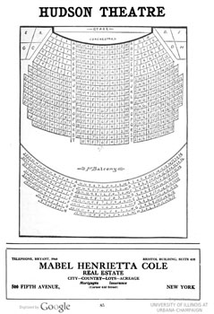 Seating chart for the Hudson Theatre from the 1910 edition of <i>Tyson's diagrams of New York Theatres</i>, held by the University of Illinois at Urbana-Champaign and digitized by Google (360KB PDF)