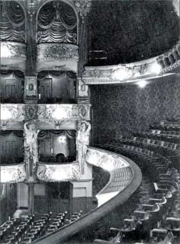 Auditorium, date unknown but between 1956 and 1973, showing topmost level of Boxes hung with draperies and Auditorium walls covered with dark red flocked wallpaper (JPG)