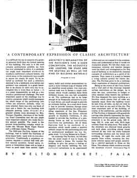 4-page article on the design an architecture of the new Memorial Pavilion (renamed the Dorothy Chandler Pavilion in 1965) by architect Welton Becket as featured in the 6 December 1964 edition of the <i>Los Angeles Times</i> (680 KB PDF)