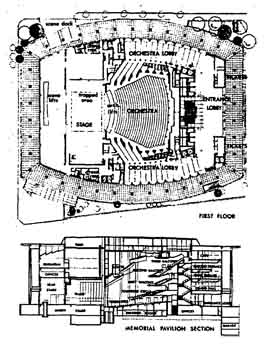 Plans of the Memorial Pavilion (renamed the Dorothy Chandler Pavilion in 1965), as completed in 1964 (50KB PDF)
