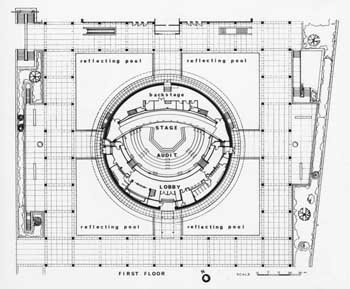 Mark Taper Forum plans as completed in 1967, all levels plus longitudinal section (200KB PDF)
