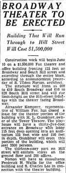 Notice of the theatre's building as printed in the 27th April 1930 edition of the <i>Los Angeles Times</i> (320KB PDF)