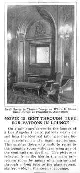 Undated and uncredited newspaper mini-feature showing the Basement Lounge viewing screen (130KB PDF)