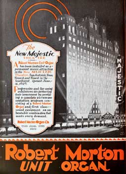 "Robert Morton theatre organ advertisement featuring the Majestic Theatre, as appeared on the back cover of ""Motion Picture News"" on 3rd August 1929 (JPG)"