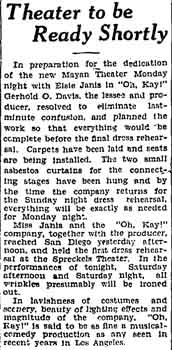 News of the theatre readying for opening, as published in the 12th August 1927 edition of the <i>Los Angeles Times</i> (280KB PDF)