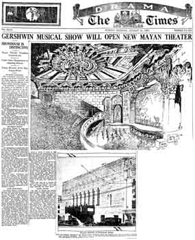 Full-page feature one day ahead of the theatre's opening, including drawings and photographs, as featured in the 14th August 1927 edition of the <i>Los Angeles Times</i> (581KB PDF)