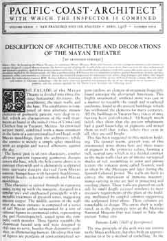 18-page photo article as featured in the April 1928 edition of <i>Pacific Coast Architect</i>, held by the San Francisco Public Library and digitized online by the Internet Archive (8.1MB PDF)