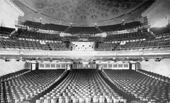 View from the Stage in 1918, clearly showing the Projection Booth located in the center of the Balcony (JPG)