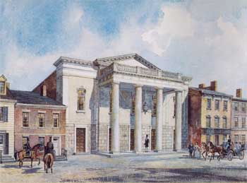 Artist's recreation of the first National Theatre, based on newspaper descriptions and architecture of the time, courtesy Joseph H. Bailey, National Theatre (JPG)