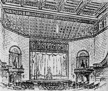 The remodeled 1922 interior, showing faux-stone walls, an ornate curtain, and the paneled mural above the proscenium depicting the signing of the Declaration of Independece. Courtesy Washington DC Library (JPG)