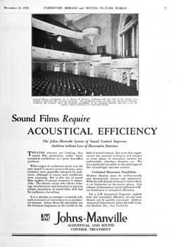 "Advertisement for Johns-Manville acoustical treatment from ""Exhibitors Herald and Moving Picture World"" (22nd December 1928), held by the Library of Congress and scanned online by the Internet Archive (600KB PDF)"