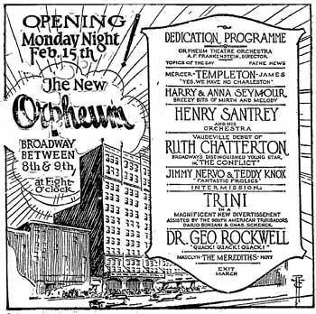 Advertisement of the opening night playbill, as appeared in the 14 February 1926 edition of <i>The Los Angeles Times</i> (500KB PDF)