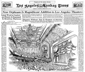 Half-page pictorial spread on the eve of the theatre's opening, as featured in the 14 February 1926 edition of <i>The Los Angeles Times</i> (700KB PDF)