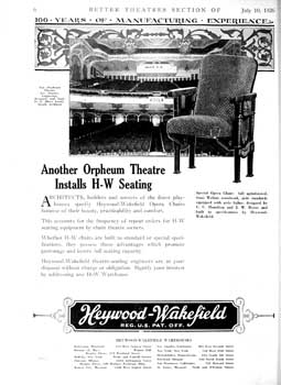 Advertisement for theatre seating, featuring the Orpheum Theatre, from <i>Exhibitors Herald</i> (10 July 1926), held by the Museum of Modern Art Library in New York and scanned online by the Internet Archive (650KB PDF)