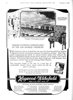 Advertisement for theatre seating, featuring the Orpheum Theatre, from <i>Exhibitors Herald</i> (1 October 1927), held by the Museum of Modern Art Library in New York and scanned online by the Internet Archive (730KB PDF)