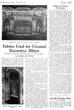 <i>Fabrics Used for Unusual Decorative Effects</i>, featuring the Orpheum Theatre, from <i>Exhibitors Herald</i> (1 October 1927), held by the Museum of Modern Art Library in New York and scanned online by the Internet Archive (850KB PDF)