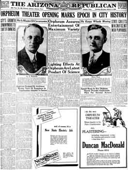 Full-page spread on the theatre's opening from the 5th January 1929 edition of <i>The Arizona Republican</i>, digitized by Newspapers.com (1.9MB PDF)