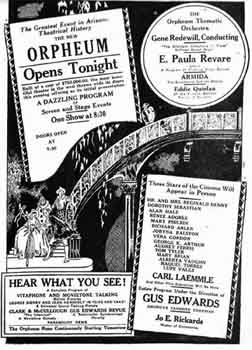 Opening night advert for the new <i>Orpheum Theater</i> (JPG)