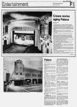 "Difficulties of fitting the national touring production of ""Annie"" into the theatre, as printed in the 6th April 1980 edition of <i>The Arizona Republic</i>, digitized by newspapers.com (1.5MB PDF)"