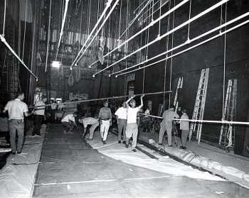 Stage from Stage Left, note Fly Floor and Pin Rail visible on the Stage Right wall; date unknown but between 1968 and 1991 - courtesy Orpheum Theatre crew / IATSE Local 336 (JPG)