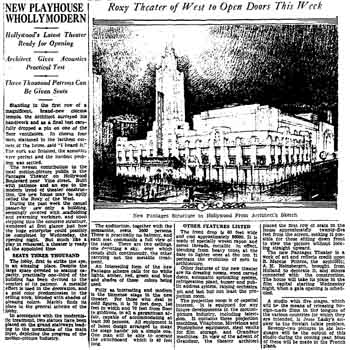 Preview of the Pantages Theatre including an overview of its modern features, as printed in the 1st June 1930 edition of the <i>Los Angeles Times</i> (190KB PDF)