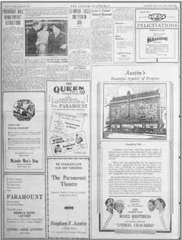 Advertisement in the Austin American-Statesman (29 August 1930) featuring the theatre's reopening (220KB PDF)