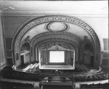 Auditorium in 1915, showing organ grilles in Opera Box domed ceilings and walls facing Balcony (JPG)