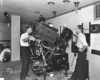 An early photograph of the Paramount's Projection Booth, courtesy Russell Chalberg Collection via the Texas Historical Commission (JPG)