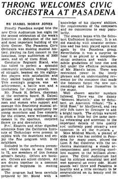 Review of the inaugural concert by the Pasadena Civic Orchestra in the Civic Auditorium as reported in the 18th February 1932 edition of <i>The Los Angeles Times</i> (890KB PDF)