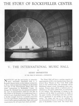 10-page article on the architectural features of Radio City Music Hall, as printed in the April 1932 edition of <i>The Architectural Forum</i> (4.5MB PDF)